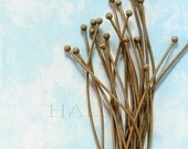 50 pcs of antique bronze finish ball end headpins 2.4 inch (0502)