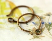 20pcs handmade small antique brass finish kidney round earwire ear hook 14mm (0684)