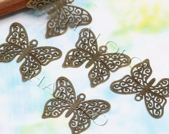16pcs small exquisite antique bronze filigree butterfly pendandts 16mm (0610)