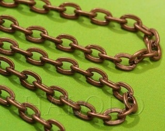 10 feet antique copper finish flat oval chain 4.5 x 3mm CH56