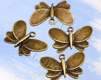 12 pcs antique bronze finish butterfly filigree pendant 28mm BN003