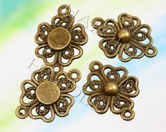 10pcs antique bronze plated flower connector charms 20mm BN050