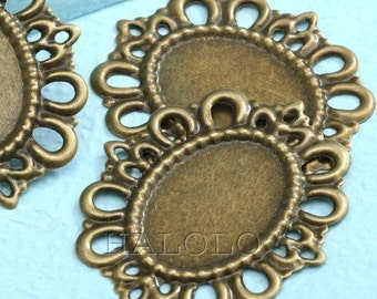 Sale - 20 pcs antique bronze finish filigree base - for 18 x 25mm cab.  B33