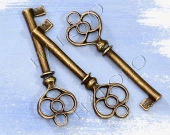 4pcs big antique bronze finish key pendant 60mm BN007