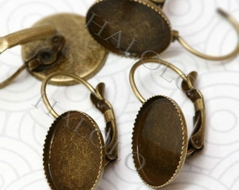 10pcs antique bronze finish french earring with base  - for 14mm round cabochons (0223)