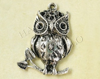 Sale - 8pcs very big antique silver owl standing on branch 37mm BN235