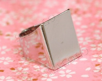 5pcs very strong big rhodium finish rectangle adjustable ring blanks 25mm R11B