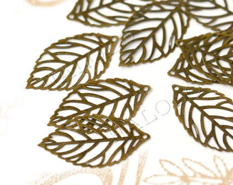 30pcs antique bronze finish leaf filigree pendant 30mm BN018