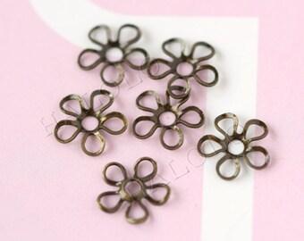 40pcs antique bronze flower filigree bead cap 9.5mm C13A