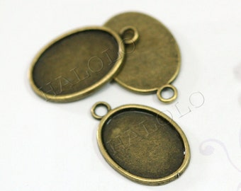 10 pcs thick antique bronze finish base - oval pad inner size is 25x18 mm BN332