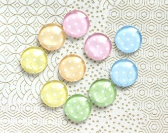 10pcs handmade assorted light colors round clear glass dome cabochons 12mm (12-94371)