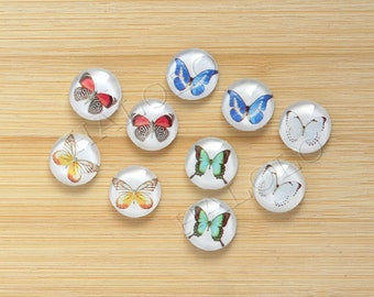 Sale - 10pcs handmade butterfly  round clear glass dome cabochons 12mm (12-9442)