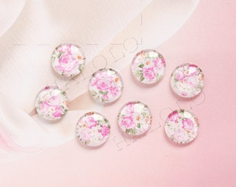 10pcs handmade assorted flowers on white round clear glass dome cabochons 12mm (12-9567)