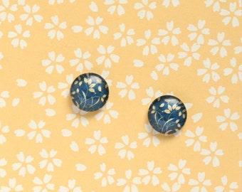 Sale - 10pcs handmade blue plants in vintage style round clear glass dome cabochons 12mm (12-91214)