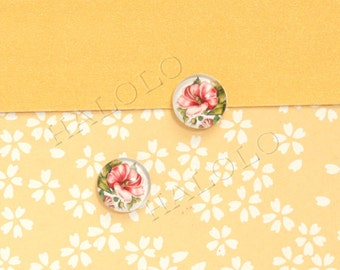 Sale - 10pcs handmade  floweres clear glass dome cabochons 12mm (12-91226)