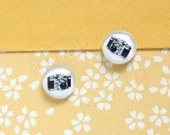 Sale - 10pcs handmade  camera clear glass dome cabochons 12mm (12-9728)