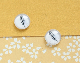 Sale - 10pcs handmade feather round clear glass dome cabochons 12mm (12-9729)