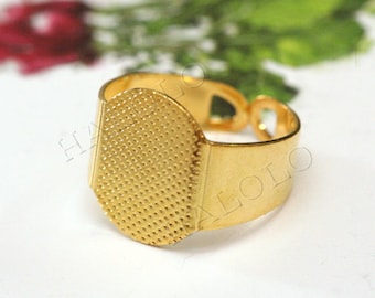10pcs  golden tone adjustable ring blanks R19D