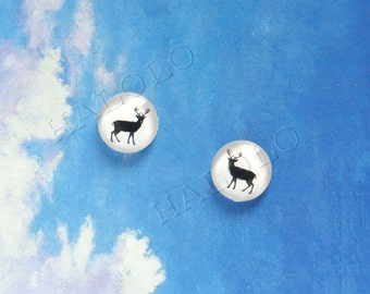 10pcs deer round clear glass dome cabochons 12mm (12-9842)