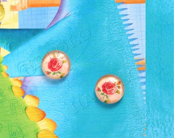 10pcs handmade red roses on yellow background clear glass dome cabochons 12mm (12-9830)
