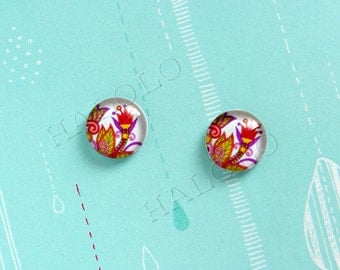 Sale - 10pcs handmade flower clear glass dome cabochons 12mm (12-9874)