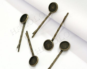 50pcs antique bronze finish straight bobby hair clip with round base - for 12mm round cabochons R61B