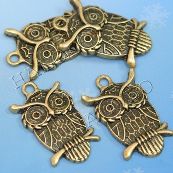 10pcs antique bronze owl standing on branch 22mm BN126
