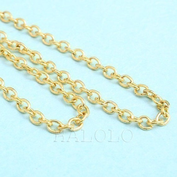 10 feet gold tone oval cable chain  3 x 2mm CH52