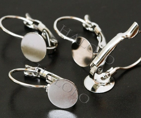 6pcs stainless steel tone french earring earwire with 10mm flat pad (0250A)