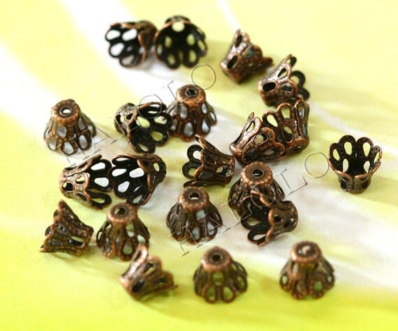 50pcs antique copper filigree bead caps charms 5mm C55
