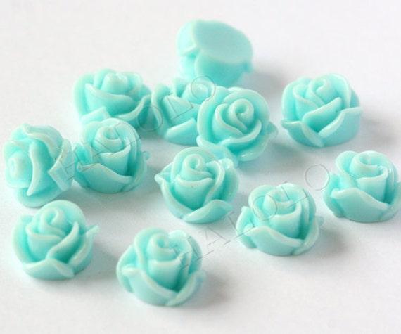 10 pcs light blue flowers cabochons 12mm P031G L