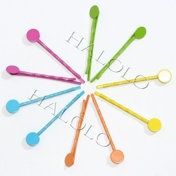 10pcs mix color straight bobby hair pins hair clip with solder round pad 2.25 inch R39