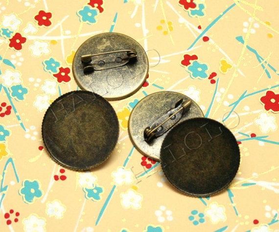 20pcs antique bronze finish brooch  for round 25mm inner size (0357B)