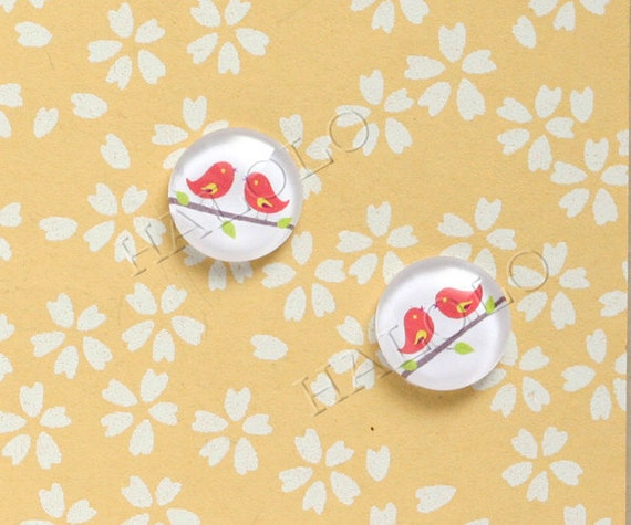 10pcs handmade red birds round clear glass dome cabochons 12mm (12-95131)