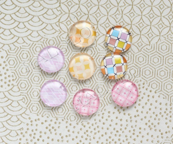 8pcs handmade assorted style round clear glass dome cabochons 12mm (12-9511)