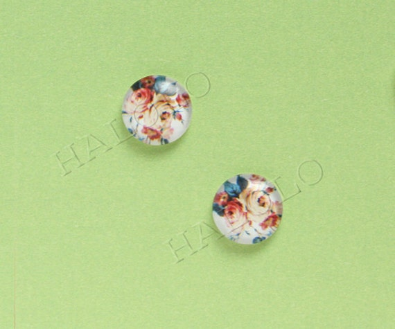 Sale - 10pcs handmade  floweres clear glass dome cabochons 12mm (12-91211)