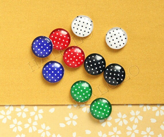 10pcs handmade assorted colors dots round clear glass dome cabochons 12mm (12-9735)