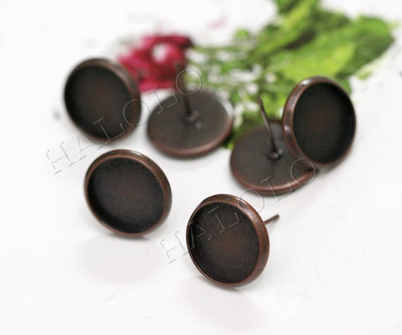 10pcs antique copper finish Earring Posts base - fit for 12mm cab. BN272E