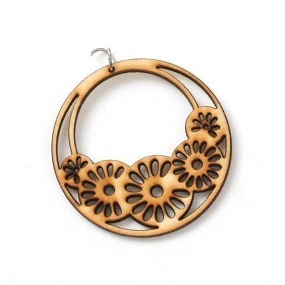 6pcs flower basket circle wooden pendant in natural colour 49mm A05VIN