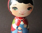 Little Red Riding Hood - Handpainted Kokeshi Doll OOAK