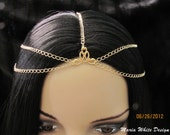Head Chain Gold Plated 5 Strand  Chain Headpiece chain headdress Circlet Gypsy
