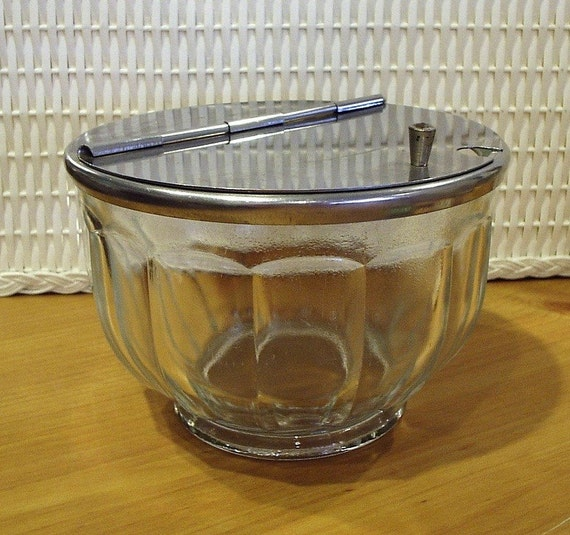 Vintage diner hinged lid glass sugar bowl