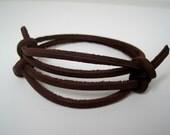 Brown Leather Wrap Bracelet Cuff Set