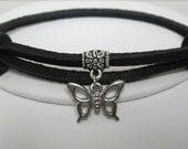 Butterflies and Flowers Leather Wrap Bracelet  Cuff