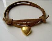 ON SALE - Leather Multi-strap Bracelet with Golden Heart