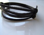 Black Leather Wrap Bracelet Set