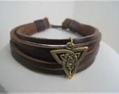 Leather  Bracelet Men or Women with Golden Celtic Shield
