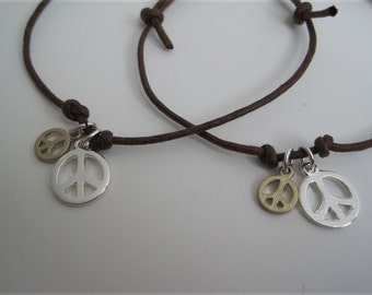 Pair of Peace Signs Leather slider Wrap Bracelet Cuff (1)