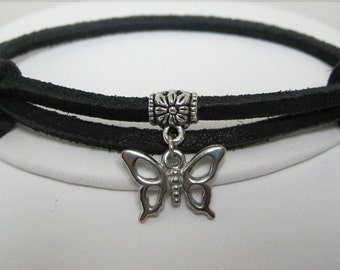 Leather Bracelet Women's Men Butterflies and Flowers Leather Wrap Bracelet  Cuff