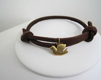 Leather Bracelet Women's Men Golden Dove Leather Slider